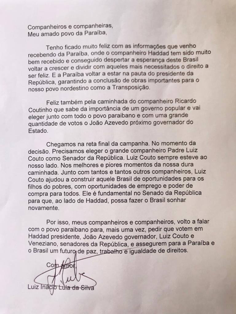 Em nova carta à Paraíba, Lula diz que Luiz Couto é fundamental para ajudar o Brasil voltar a sonhar