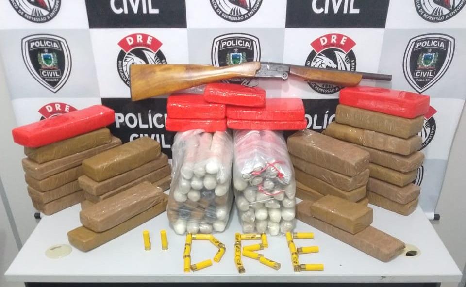 Campina Grande: Depósito de facção tinha 60kg de maconha, 5kg de cocaína, bananas de dinamite e armas