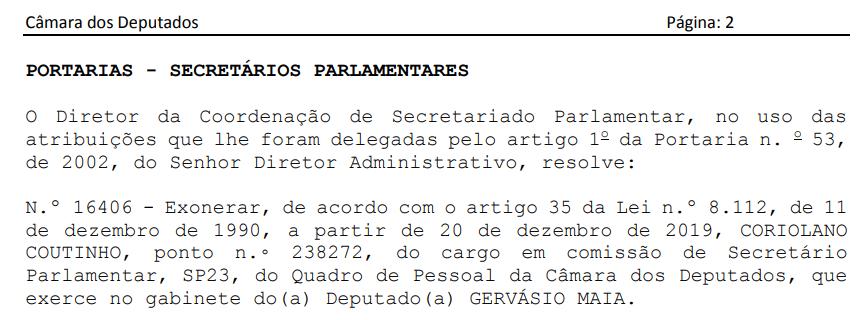 coriexonera - Preso na Calvário, Coriolano Coutinho é exonerado do gabinete de Gervásio Maia