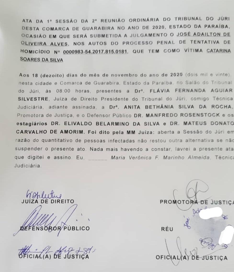 juri1 - Júri é suspenso em Guarabira por grande número de infectados com Covid-19